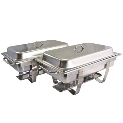 PACK OF 2 ECONOMY 9L STAINLESS STEEL CHAFING DISH SET