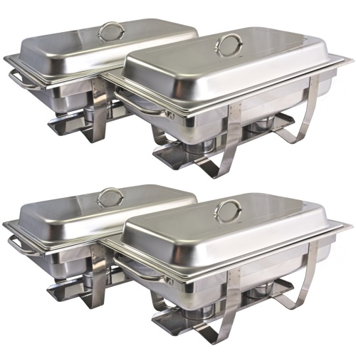 PACK OF 4 ECONOMY 9L STAINLESS STEEL CHAFING DISH SET