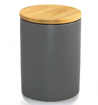 GREY PORCELAIN STORAGE CANISTER WITH AIRTIGHT BAMBOO LID