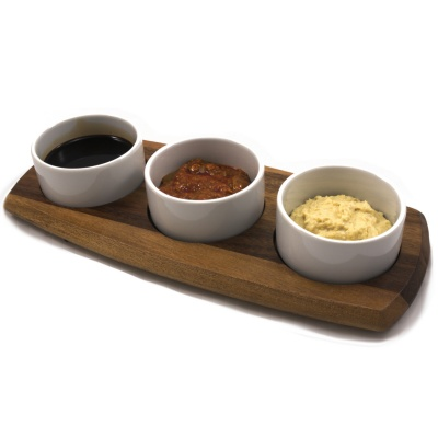 Wooden 3 Bowl Dipping Set