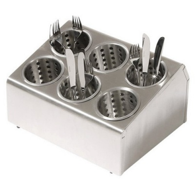 Stainless Steel Holed 6 Slot Cutlery Dispenser