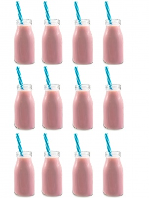 SET OF 12 MINI MILK BOTTLES 200ML