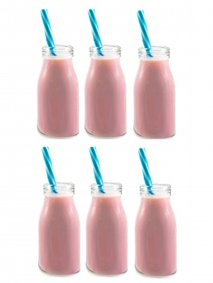 SET OF 6 MINI MILK BOTTLES 100ML
