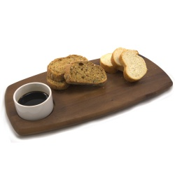 Chef-Hub Wooden Serving Board With Dip Bowl - Narrow