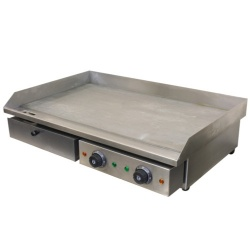 Chef-Hub Commercial Double Sided Counter Top Electric Stainless Steel Griddle / Flat Hotplate / Bbq Griddle / Kitchen Grill / Fried Pans - 4.4Kw Ideal For Eggs, Bacon, Sausages Etc.