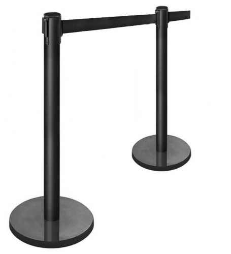 Set of 2 black retractable belt barrier queue posts