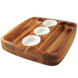 Chef-Hub Wooden Serving Board With 3 Dip Bowls