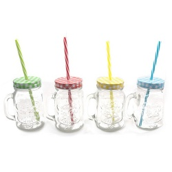 CHEF-HUB 4 MULTI-COLOURED VINTAGE MASON STYLE GLASS JARS