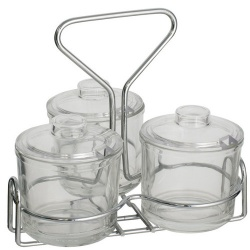 3 Pot Glass Condiment Holder