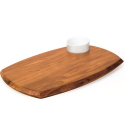 Wooden Serving Board With Dip Bowl